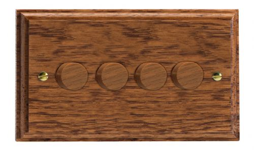 Varilight HK44MO Kilnwood Medium Oak 4 Gang 2-Way Push-On/Off Dimmer 40-250W V-Dim